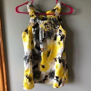 BCX yellow floral blouse